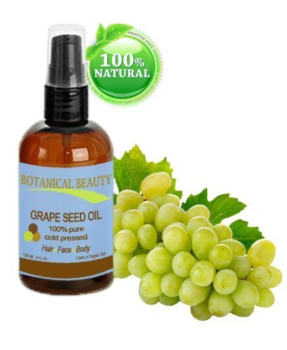 (Grape Seed Oil, 100% Pure / Natural, Cold Pressed. For Face, Hair and Body. 4 oz-120 ml )