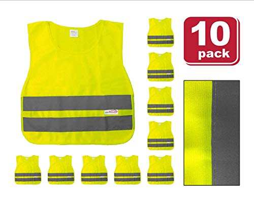 (SAFE HANDLER Child Reflective Safety Vest | Lightweight and breathable, bright colors for child public safety, 100% polyester, Yellow, Medium, 10 PACK)