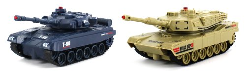 JXD World Combat Twin Tank Set Electric RC Tank Set Infrared Combat Battle Tri-Band Remote 1:48 Scale Ready To Run RTR, Comes with 2 Tanks to Wage Infrared Battle