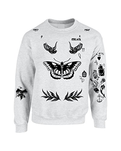 Allntrends Adult Sweatshirt Harry Tattoos 94 Cool Top Trendy Cute Gift (S, Ash)