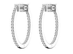 Natural Diamond Inside-Outside Oval Hoop Earrings