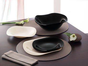 Servizio piatti quadrati bianchi e neri tovaglioli di carta - Piatti bianchi e neri ...