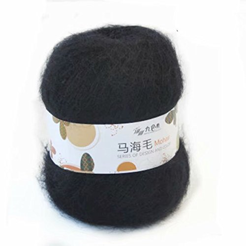 Celine lin One Skein Soft Natural Angola Mohair Wool Knitting Yarn 50g,Black