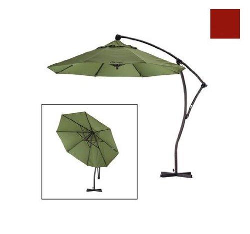 California Umbrella 9 Foot Cantilever Market Umbrella with Deluxe Crank Lift in Sunbrella Terracotta California Cantilever Umbrella