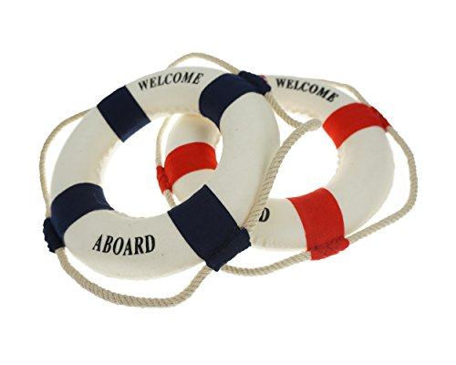 Bilipala 2PCS Welcome Cloth Decorative Life Ring, Buoy Home Wall Nautical Decor, Red&Blue -