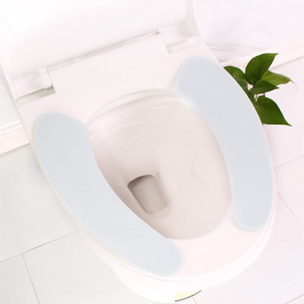 VAVAMAX 1Pair Washable Bathroom Warm Plush Toilet Seat Filling Soft Health Sticky Household Mat Seat Cover Blue