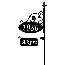 "Address America Park Place Oval Reflective 911 Home Address Sign for Yard with Name Rider on Garden Flag Post - Custom Made Address Plaque with Name - Wrought Iron Look Exclusively (48"" Post)"