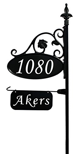 Address America Park Place Oval Reflective 911 Home Address Sign for Yard with Name Rider on Garden Flag Post - Custom Made Address Plaque with Name - Wrought Iron Look (Oval Address Sign)
