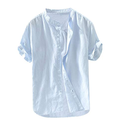 Men's Cotton Linen Shirt,Loose Solid Breathable Short Sleeve Casual Button-Down Workwear T Shirts Tops Light Blue ()