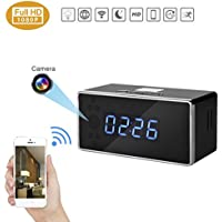 PANNOVO WIFI Camera Alarm Clock HD 720P 140 Degree Angle Wireless Security Camera with Night Vision