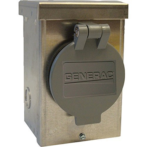 Generac 6345 20-Amp 125/250V Aluminum Power Inlet Box with Spring-Loaded Flip Lid by Generac