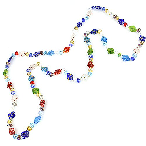QuickPeter Multi Colored Glass Beads Long Necklace (Diamond)