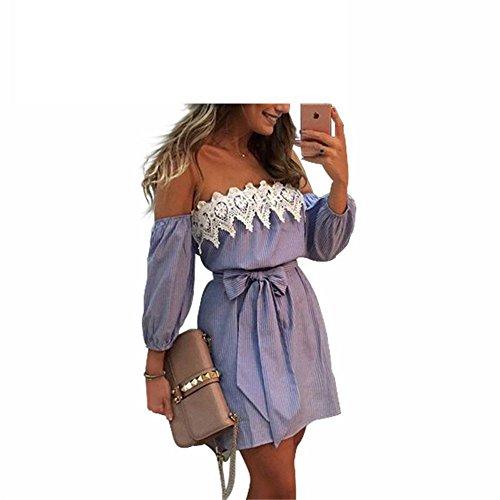 FGHGYH Sexy Off Shoulder Striped Mini Dress Women Loose Beach Sundress Party Dress (70s Dress Up Ideas)