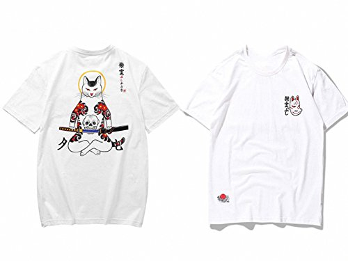 Japanese Embroidery Fox Mask Warrior Cats Short Sleeve T-Shirt Hip Hop Cotton Tops ()