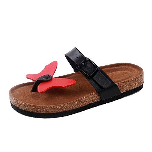 Damen Clip Toe Sandalen Strand Schuhe Pantoletten mit Korkfußbett Flip Flop Zehentrenner Offene Sandalen 36 2 XTz2xDJpf