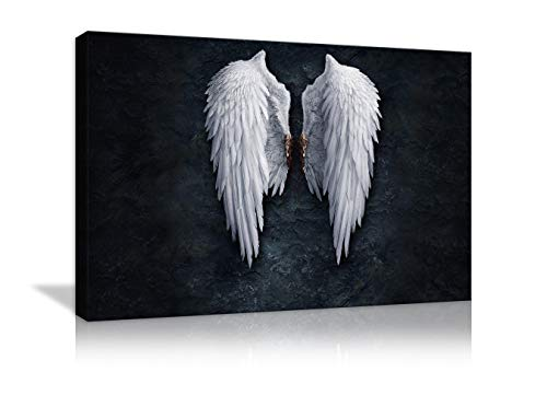 AMEMNY Fire Ice Angel Wings Contemporary Girl Abstract Canvas Wall Art Painting Living Room Wall Art Picture Gift Home Decoration Canvas Print Printed Framed Ready to ()