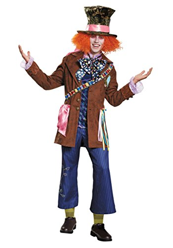 Disguise Men's Alice Mad Hatter Prestige Costume, Multi, X-Large