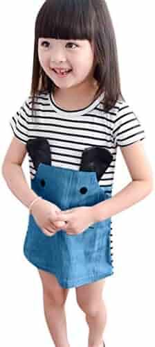 08560a4de12 Kingspinner Girls Dresses Short Sleeve Cute Cartoon Mouse Print Stripe  Splicing Dress Tunic Shirt Dresses