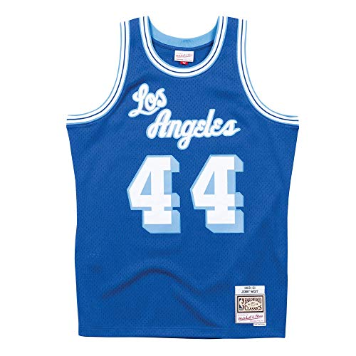 38be306ff Mitchell   Ness Los Angeles Lakers Jerry West Throwback Road Swingman  Jersey Blue (X-Large)