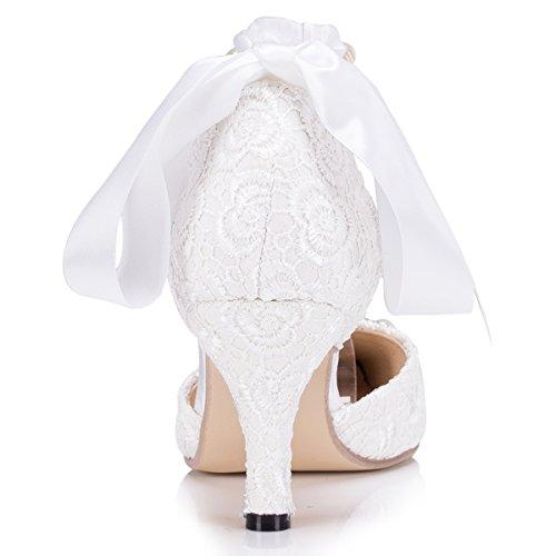 Kevin Fashion Damen Modische Hochzeitsschuhe Weiss Igfh
