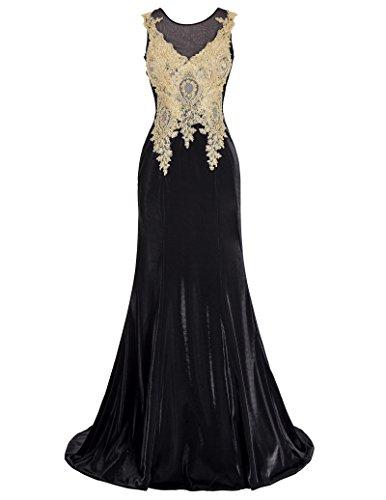Belle Long Prom Dress - Vestido - ajustado - Sin mangas - para mujer Black(GK0112)