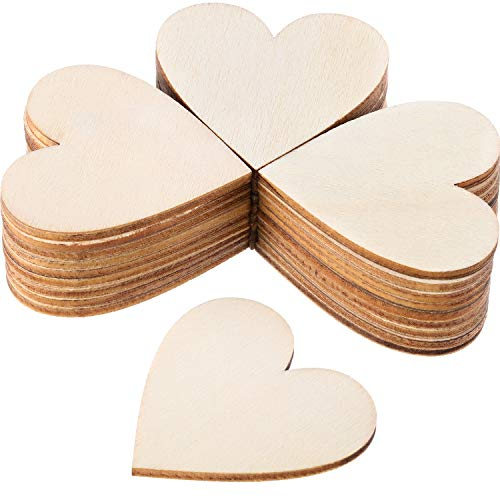 Wood Heart Cutouts Wood Heart Slices Embellishments Ornaments for Wedding, Valentine, DIY Supplies (2 Inch, 120 Pieces)