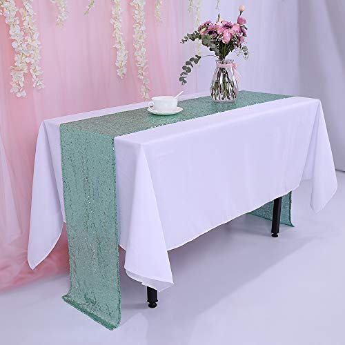 TRLYC 12 x 120 Inch Mint Sparkly Sequin Table Runner,Sequin Tablerunner Mint]()