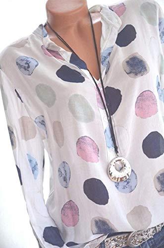 Bleu Tops FuweiEncore Longues color Shirt T M Blanc Blouse et Manches Taille 8qwOZ8U