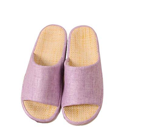 Bronze Times (TM) Zapatillas de Casa de Lino Algodón Interior Cuatro Estaciones Unisex Púrpura