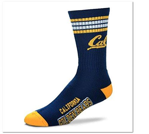 (For Bare Feet NCAA 4 Stripe Deuce Crew Men Socks-California Berkeley Golden Bears-Large (10-13))