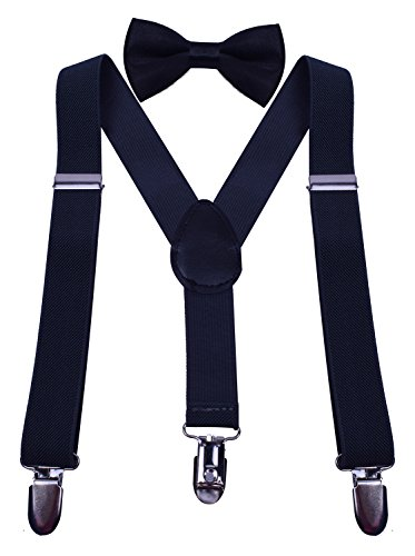 WDSKY Adjustable Toddler Gray Suspenders and Bow Ties for Boys Kids Dark Grey (Old Man Costume)