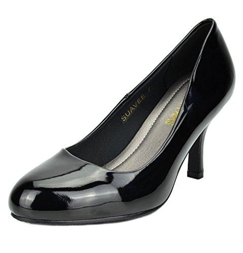 DREAM PAIRS Women's Suavee Black Pat Low Heel Stiletto Pump Shoes - 8.5 M - 3.5 Heel Rhinestone Inch