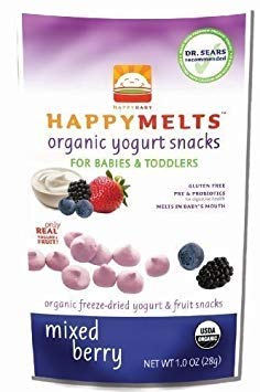HAPPYMELTS Organic Yogurt Snacks for Babies and Toddlers, Mixed Berry, 8 - 1-Ounce Pouchs ( Value Bulk Multi-pack) (Happymelts Organic Yogurt Snacks)