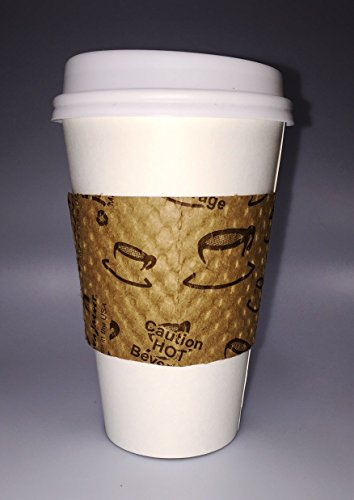 Power for Apple Paper Hot White Cups, Lids, & Java Jacket Sleeves (Pack of 50) (16 oz)