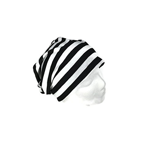 6de1637b143 Image Unavailable. Image not available for. Color  Black and White Stripe Slouchy  Hat Lightweight Cotton Jersey Hat Men s Striped Slouch Hat Women s Striped