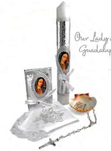 English Handmade Christening/Baptism Set For Girl, Boy Virgencita Virgen Guadalupe: Candle, Prayer Booklet, Dry Cloth, Sea Shell, and Rosary –Bautizo Religious Gift Silver