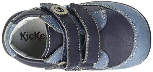 Kickers Baxter - Zapatos de primeros pasos Bebé-Niñas Bleu (Marine/Gris/Bleu)