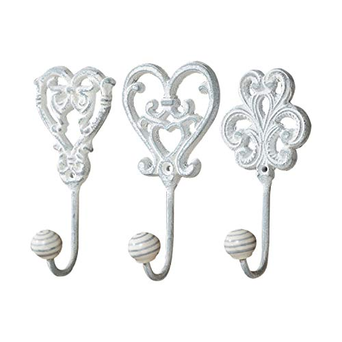 (Romantic Chateaux Wall Hooks, Set of 3, Shabby French Country Style, Rustic White Finish, Cast Iron, Vintage Inspired, Striped Porcelain Caps, Each 2 3/4 L x 1 1/2 W x 5 1/2 H inches )