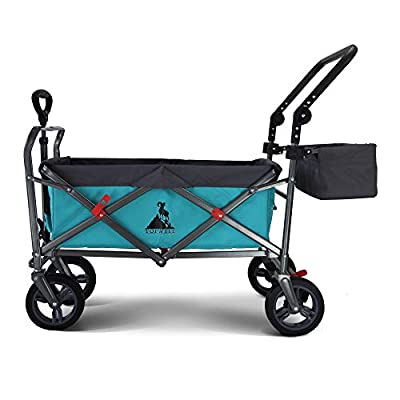 TOPWELL-All-Terrain-Wheels-Garden-Wagon-Heavy-Duty-Wheelbarrow-Folding-Cart-with-360-Rotating-Front-Wheels-Shopping-Cart-Trolley-with-One-Foot-Brake-Push-Handle-Basket-Load-up-to-120KG