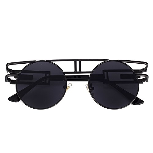 34117c1707e VeBrellen Men Gothic Sunglasses Reflective Flash Mirror Lens Vintage Women  Steampunk Round Sunglasses (Black Frame