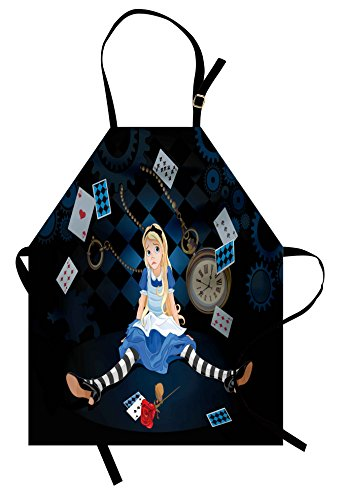 Ambesonne Alice in Wonderland Apron, Grown Size Alice Sitting with Flying Cards and Rose Checkered Cartoon, Unisex Kitchen Bib Apron with Adjustable Neck for Cooking Baking Gardening, Dark Blue ()