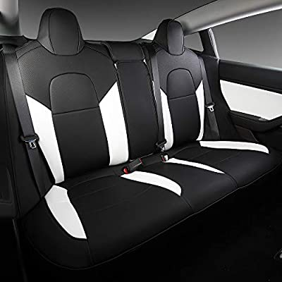 White Model 3 Car Seat Cover PU Leather Cover All Season Protection 9pcs for Tesla Model 3 2017 2018 2019