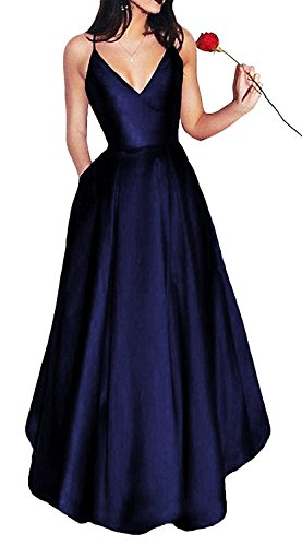 A-line Spaghetti Strap Evening Gown (Little Star Women's Elegant Navy Blue Prom Dresses 2018 Long Spaghetti Straps Satin Evening Party Dress A Line Ball Gown With Pockets)