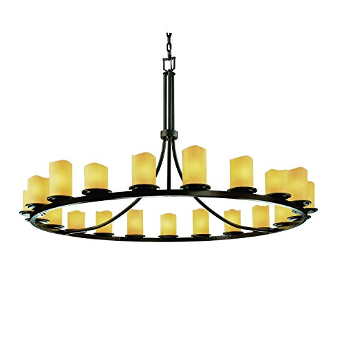 (Justice Design Group CandleAria 21-Light Chandelier - Dark Bronze Finish with Amber Faux Candle Resin Shade)