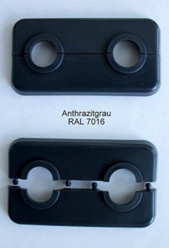 Doppel-Rosette für Heizungsrohre, Abdeckung für Heizungsrohre, Heizung, 2-teilig, 15mm, 16mm, 18mm, 21,3mm Polypropylen in So