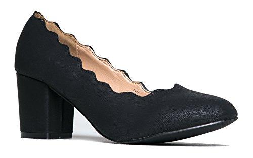 Chunky Low Cute Scallop Heel - Casual Block Heel Shoe - Party Vegan work Dress Heels - Cake by J. Adams