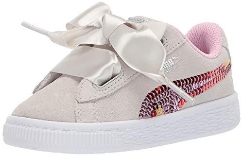 PUMA Unisex Suede Heart Trailblazer Sequins Sneaker, Gray Violet-Pale Pink, 3.5 M US Big Kid (Unisex Heart)
