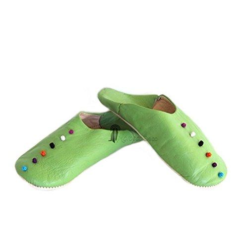Babouche Rosa Marrakech vert anis, babouches confectionnees et cousues main, chaussons en cuir veritable et soie de sabra, pantoufles souples et legeres