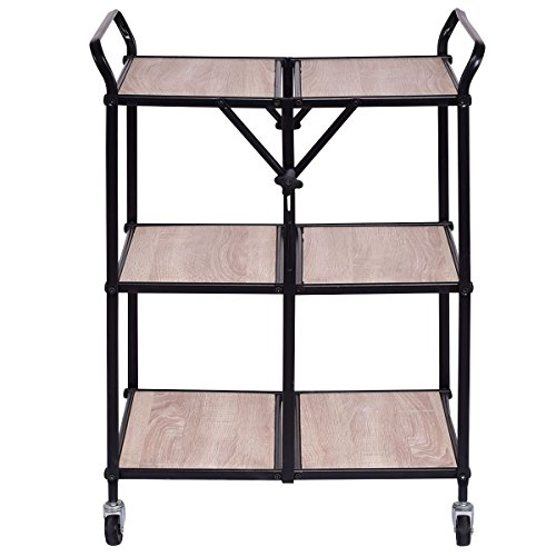 New Folding Kitchen New Trolley Cart Rolling Serving Dining Storage Shelves 3 Tier by totoshopkitchen