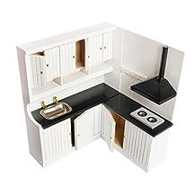 MonkeyJack Dollhouse Miniature Furniture Wooden Kitchen Stove Sink Cabinet Cupboard Set